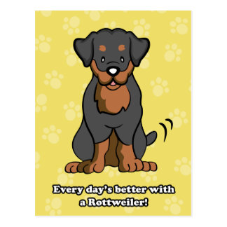 Cartoon Rottweiler Postcard