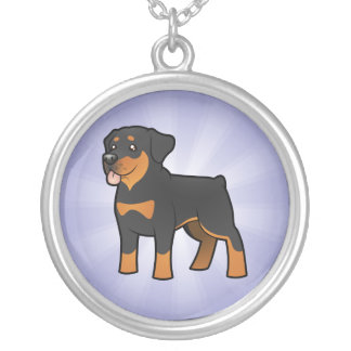 Cartoon Rottweiler Silver Plated Necklace