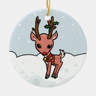 Cartoon Rudolf Christmas Round Ceramic Decoration