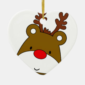 CARTOON RUDOLF CHRISTMAS THEME CERAMIC HEART DECORATION