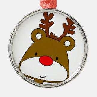 CARTOON RUDOLF CHRISTMAS THEME Silver-Colored ROUND DECORATION