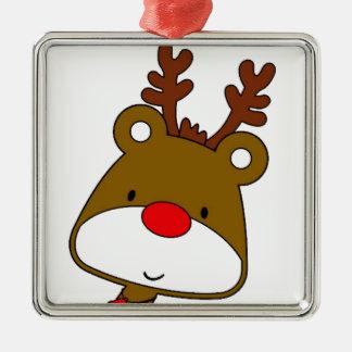 CARTOON RUDOLF CHRISTMAS THEME Silver-Colored SQUARE DECORATION
