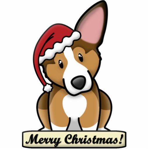 Cartoon Sable Corgi Christmas Ornament Photo Cutouts
