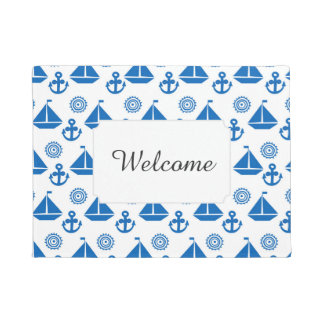 Cartoon Sail Boat Pattern | Add Your Text Doormat