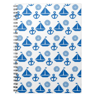 Cartoon Sail Boat Pattern Spiral Note Book