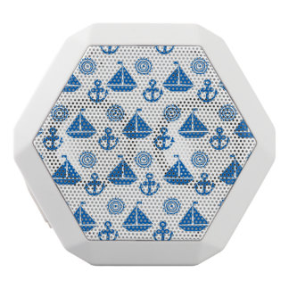 Cartoon Sail Boat Pattern White Bluetooth Speaker