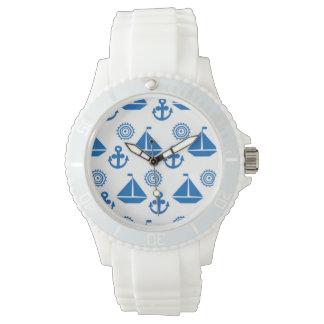 Cartoon Sail Boat Pattern Wrist Watch