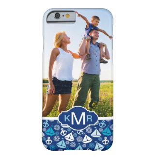 Cartoon Sailboats Pattern| Your Photo & Monogram Barely There iPhone 6 Case