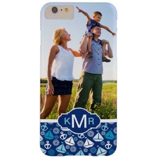 Cartoon Sailboats Pattern| Your Photo & Monogram Barely There iPhone 6 Plus Case