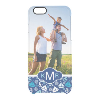 Cartoon Sailboats Pattern  Your Photo & Monogram Clear iPhone 6/6S Case