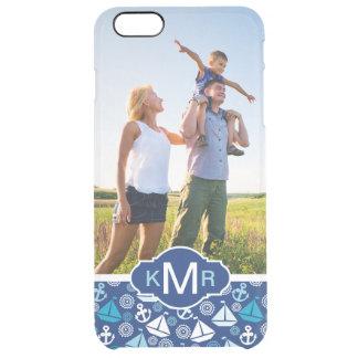 Cartoon Sailboats Pattern| Your Photo & Monogram Clear iPhone 6 Plus Case