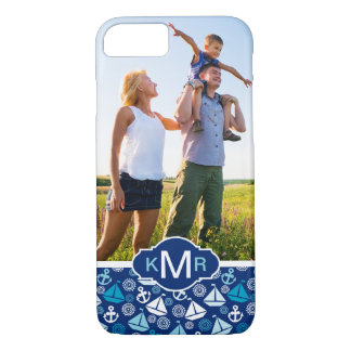 Cartoon Sailboats Pattern| Your Photo & Monogram iPhone 8/7 Case