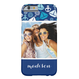 Cartoon Sailboats Pattern | Your Photo & Name Barely There iPhone 6 Case