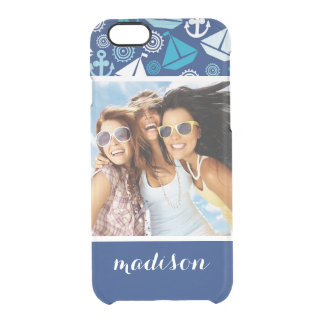 Cartoon Sailboats Pattern | Your Photo & Name Clear iPhone 6/6S Case