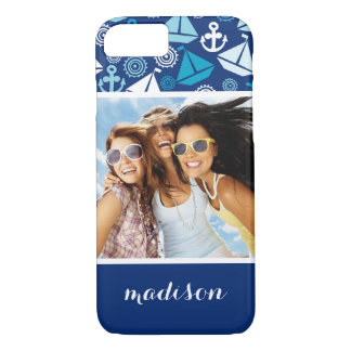 Cartoon Sailboats Pattern | Your Photo & Name iPhone 8/7 Case