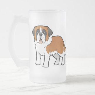 Cartoon Saint Bernard Frosted Glass Beer Mug