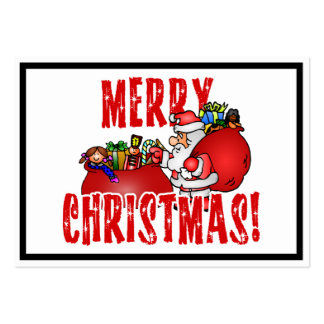Cartoon Santa And Bags of Christmas Toys Large Business Cards (Pack Of 100)