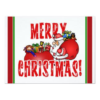 Cartoon Santa And Bags of Christmas Toys 17 Cm X 22 Cm Invitation Card