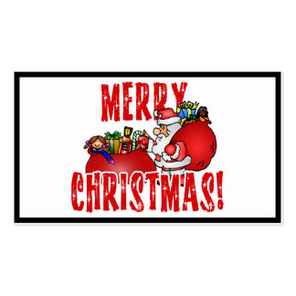 Cartoon Santa And Bags of Christmas Toys Pack Of Standard Business Cards