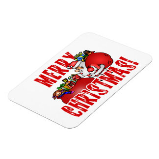 Cartoon Santa And Bags of Christmas Toys Flexible Magnets