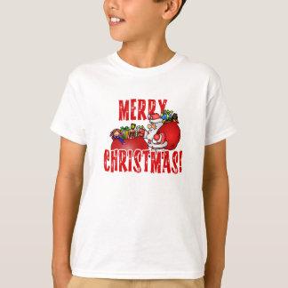 Cartoon Santa And Bags of Christmas Toys T-Shirt