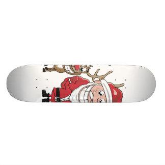 Cartoon Santa and Custom Skate Board