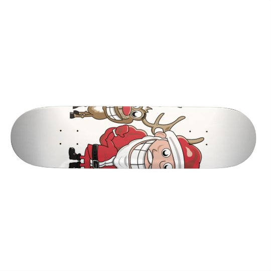 Cartoon Santa and Custom Skate Board