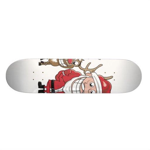 Cartoon Santa and Skateboard Deck