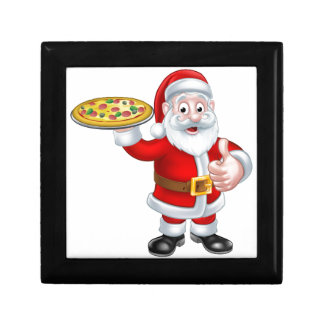 Cartoon Santa Claus Holding Pizza Small Square Gift Box