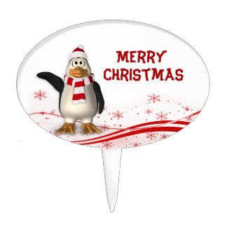 Cartoon Santa Claus Penguin Christmas Cake Pick