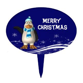 Cartoon Santa Claus Penguin Christmas Cake Topper