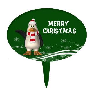 Cartoon Santa Claus Penguin Christmas Cake Toppers