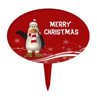 Cartoon Santa Claus Penguin Christmas Cake Toppers