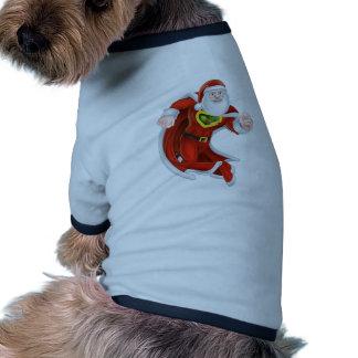 Cartoon Santa Claus Superhero Ringer Dog Shirt