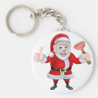 Cartoon Santa Giving Thumbs Up and Holding Plunger Basic Round Button Key Ring