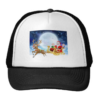 Cartoon Santa Reindeer Sleigh Christmas Scene Cap