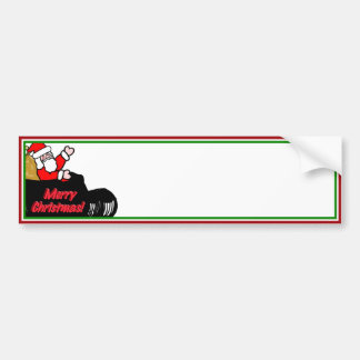 Cartoon Santa s Sleigh Ride Bumper Sticker