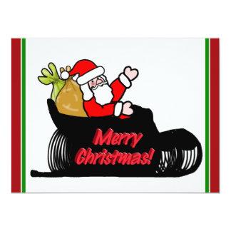Cartoon Santa's Sleigh Ride 17 Cm X 22 Cm Invitation Card