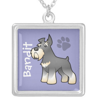 Cartoon Schnauzer (add your pets name) Silver Plated Necklace