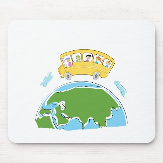 cartoon school bus on earth globe.png mouse mat