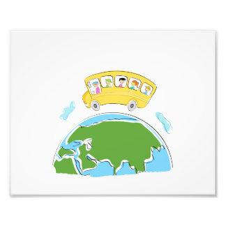 cartoon school bus on earth globe.png photo