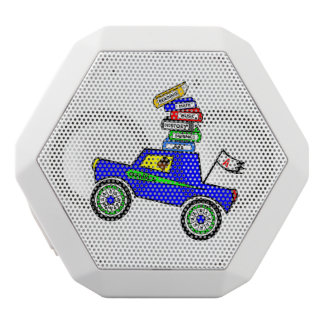 Cartoon Schoolboy Genius Driving Car Books on Top