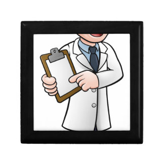 Cartoon Scientist or Lab Technician Character Gift Box