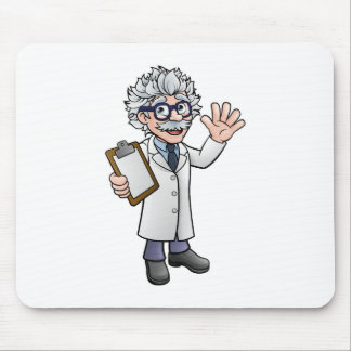Cartoon Scientist Professor with Clipboard Mouse Mat
