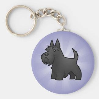 Cartoon Scottish Terrier Basic Round Button Key Ring