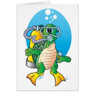 Cartoon Scuba Turtle Greeting Card