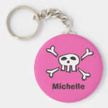 Cartoon scull and crossbones keychain with name