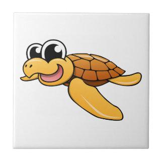 Cartoon Sea Turtle Small Square Tile