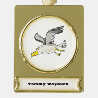 Cartoon seagull flying over head gold plated banner ornament