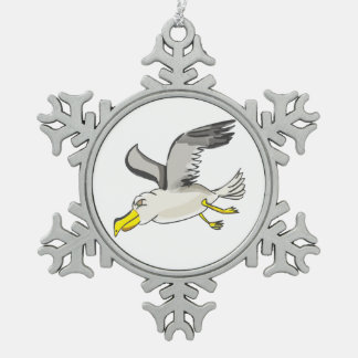Cartoon seagull flying over head snowflake pewter christmas ornament
